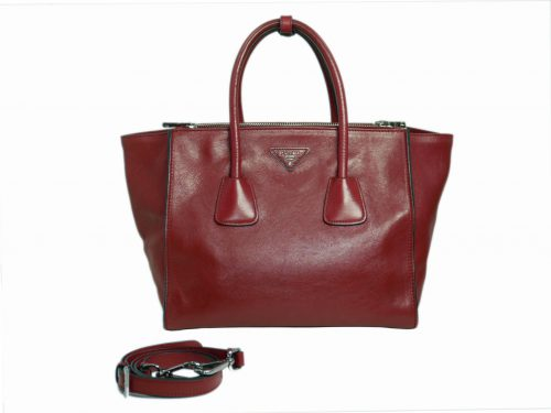 Prada BN2619 Fuoco/ Red Glace Calf Leather Twin Pocket Double Handle Tote -0