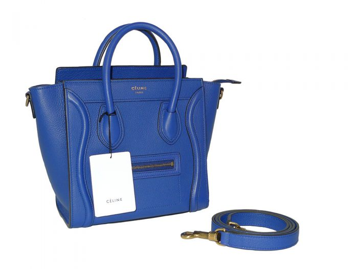 Celine Collection in Royal Blue Calf Nano Luggage Cross Body Bag-34490