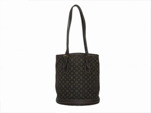 Louis Vuitton M95226 Brown Monogram Mini Lin Bucket PM Tote/ Shoulder Bag (FL0076)-0