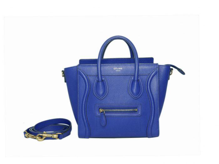 Celine Collection in Royal Blue Calf Nano Luggage Cross Body Bag-0