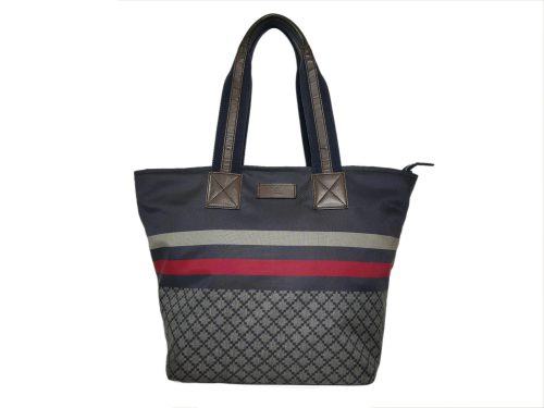 Gucci 267922 Unisex Diamante Travel Blue Web Medium Multicolor Nylon Shopping Tote-0