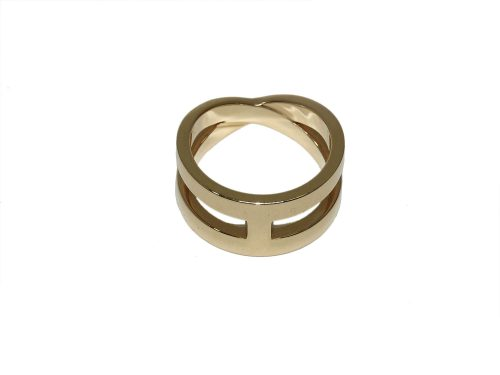 Hermès H Eclipse Lubin Bijouterie Fantaisie Logo Scarves Ring Gold Hardware -0