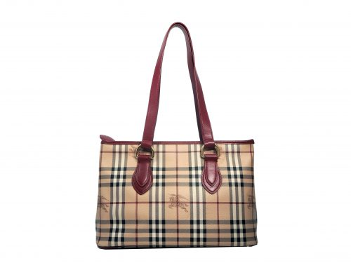 Burberry Signature Horse Canvas with Red Calf Leather Trim Document/ Shopping Bag-0