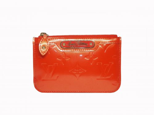 Louis Vuitton M93638 Monogram Vernis Orange Pochette Cles / Key Holder (CA1019)-0