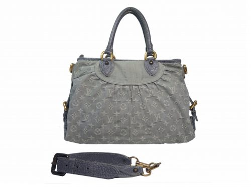 Louis Vuitton M95837 Grey Denim Monogram Denim Neo Cabby MM Tote/ Shoulder Bag-0