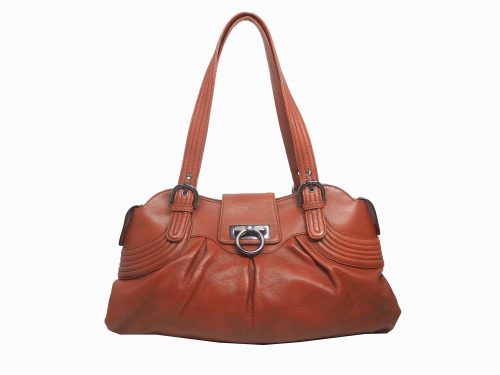 Ferragamo FZ-21 Light Brown/ Prune Zip Top Shoulder Bag-0