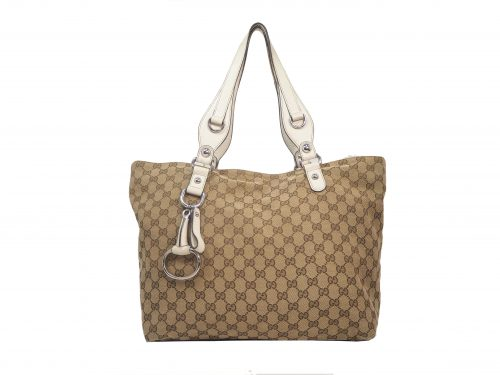 Gucci 229852 Beige GG Icon Bit Medium Tote with Horsebit Detail Shopping Bag-0
