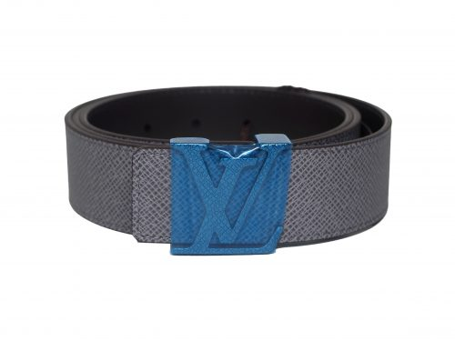 BRAND NEW ! Louis Vuitton LV Initiales 40MM/ 100cm Taiga Glacier / Grey Leather Belt (BC3106)-0