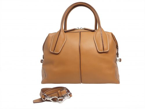 Tods Tan Leather D-Styling Small Bauletto Bag with Detachable Shoulder Strap-0