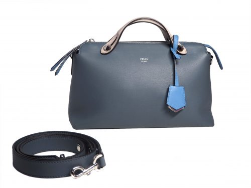 Fendi 8BL1245Q BY THE WAY Regular Blue/Grey 3-Tone Leather Medium Boston Bag with Strap-0