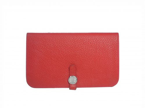 Hermès Red Veau Togo Leather Dogon Duo Combined Wallet Palladium Hardware-0