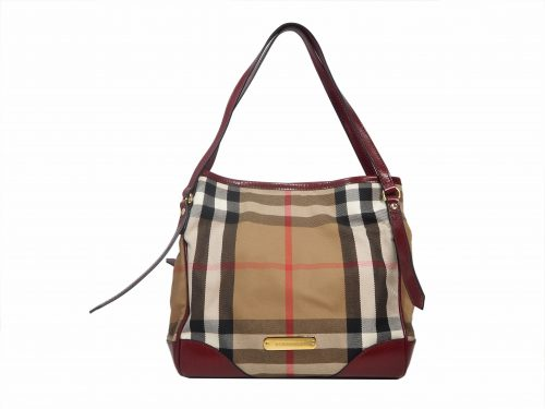 Burberry Small Bridle House Check with Red Leather Trim Document Tote Bag-0
