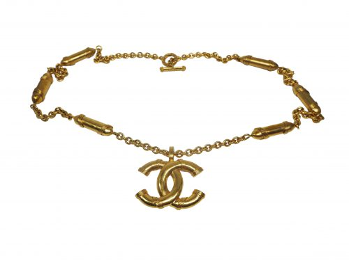 Chanel 94A Vintage Big Gold CC Logo with BULLETS Charms Necklace / Belt Chain-0