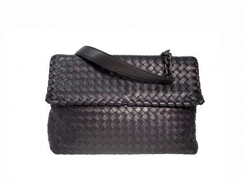Bottega Veneta Black Woven Flip-over Flap With Magnetic Snap Shoulder Bag-0