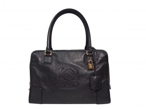 Loewe Black Goat Skin Amazona 34cm Document with Long Shoulder Bag -0