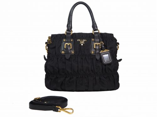 Prada BN1789 Black Tessuto Gaufre Large 2-Way Shopping Tote-0
