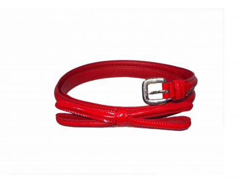 "Prada 1C5076-2 Red Skinny Patent Leather Waist Bow Belt 70/28 x 1/2"" (1.2cm) -0"