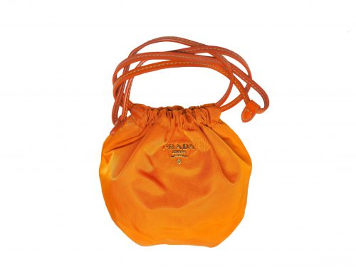 Prada 1N1535 Papaya Orange Nylon Tessuto Drawstring Pouch -0
