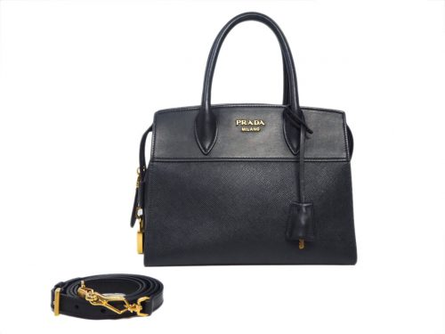 Prada 1BA045 Black Saffiano / Calf Leather Esplanade Top Handle 2-Way Tote/ Shoulder bag-0