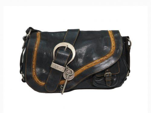 Dior Black/ Brown Gaucho Leather Saddle Bag-0