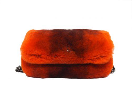 Chanel 9520686 Orange/ Red Degraded Rabbit Fur Triple Chain Around Shoulder Bag -0