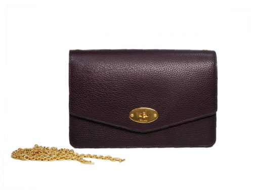 Mulberry Small Darley Oxblood Natural Grain Leather Wallet On Chain/ Clutch Bag-0