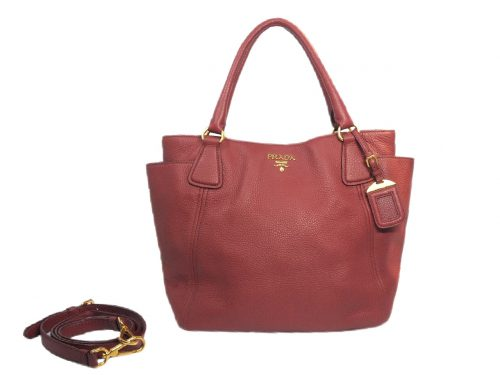 Prada BN2435 Vit. Daino Rubino/ Ruby Deerskin Leather Twin Pockets Document Tote-0