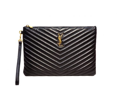 Saint Laurent/ YSL Monogram Tablet Pouch in Black Matelasse Leather -0
