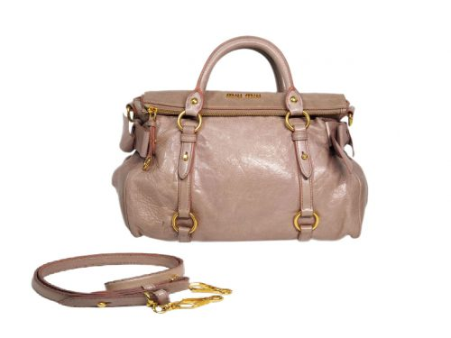 Miu Miu Pink Mughetto Distressed Vitello Lux Medium Bow Bag with Strap-0