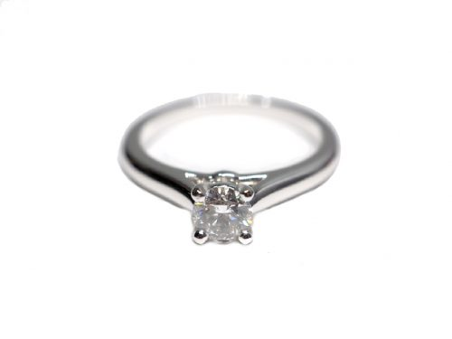 Cartier 1895 Solitaire Ring 950 White Gold, Diamond D1-0.31-0
