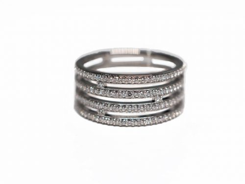 Hermes 18K 750 White Gold Diamonds H Ring, Size 50, Grade A Diamonds -0