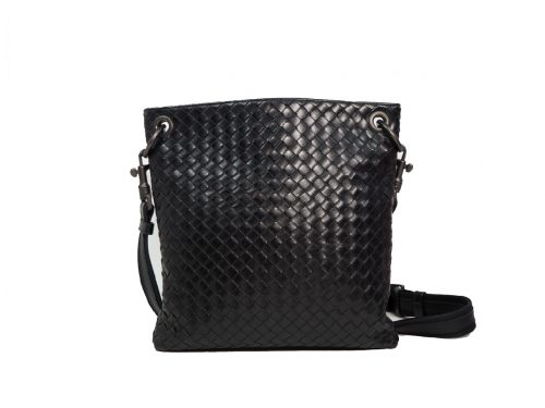 Bottega Veneta 172736 Black Nappa Intrecciato Open-Top Messenger Bag-0