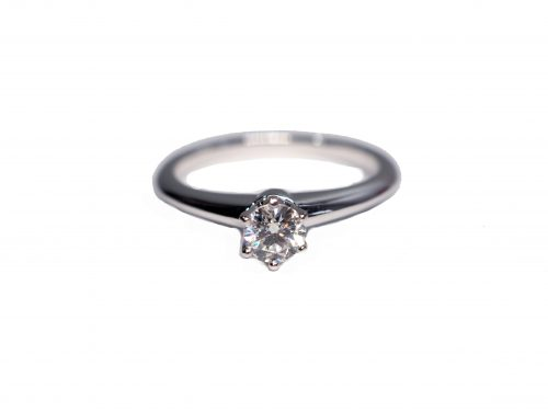 Tiffany & Co. Diamond Solitaire Ring 950 White Gold, Diamond D1-0.30 (Size 50)-0