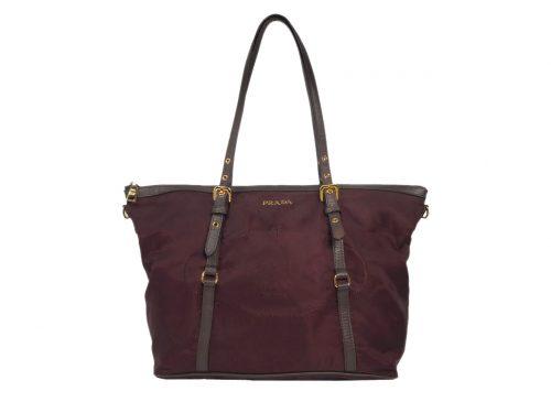 Prada BR4253 Prune Nylon Tessuto + Saffiano Zip-Top Shopping Tote Bag-0