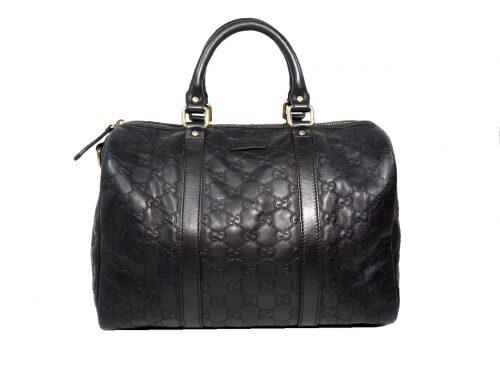 Gucci 265697 Black GG Guccissima Leather Boston Tote -0