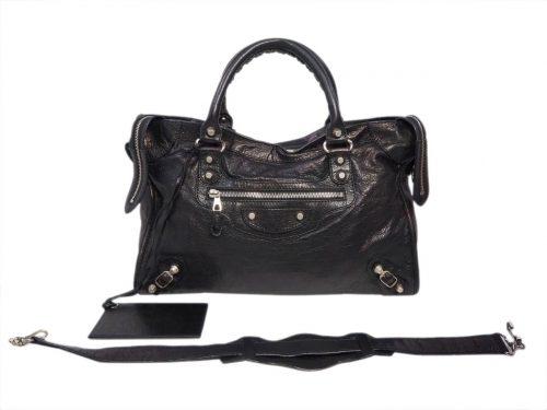Balenciaga 281770 Black Giant 12 City Bag in Silver Hardware-0