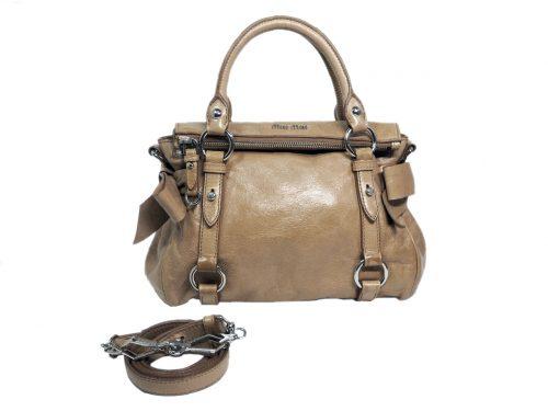 Miu Miu Beige Distressed Vitello Lux Small Bow Bag with Strap-0