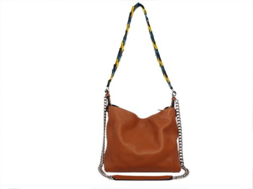 Loewe 9867151 Tan Soft Calf V Bucket with Multicolor Strap Hobo Bag-0