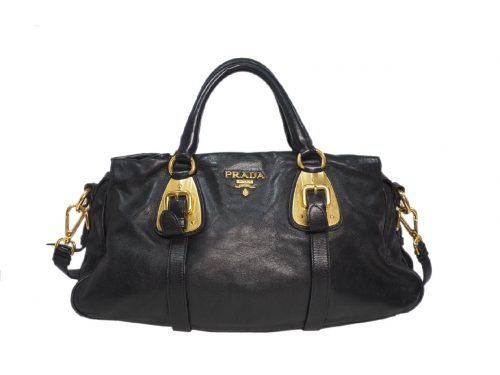 Prada BN1903 Black Soft Calf Leather Top Handle Convertible Bag-0