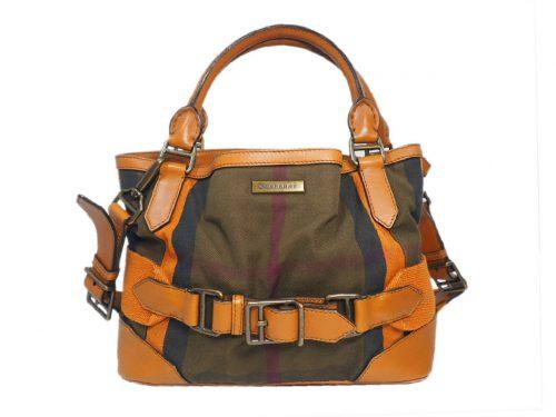 Burberry Cotton Checked Signature Orange Zochre Crossbody/ Tote Bag-0