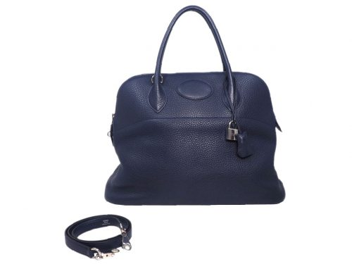 Hermes Blue Nuit X Stamp Bolide 35cm Clemence Leather Tote with Strap-0