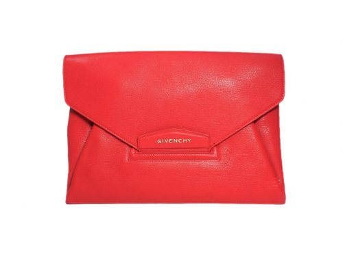 Givenchy Red Goat Textured-Leather Antigona Ipad / Notepad Envelope Clutch-0