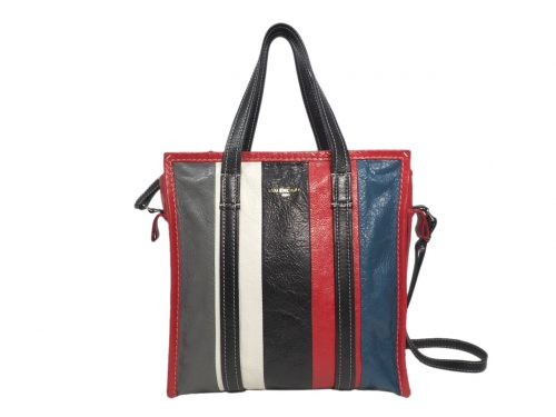 Balenciaga 443096 Black Red Multicolor Leather Strips Bazar Shopper Bag -0