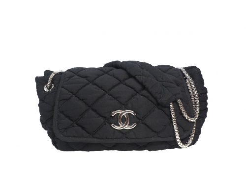Chanel 12758967 Black Jersey Bubble Quilt Accordion Flap Bag Silver Tone Hardware-0