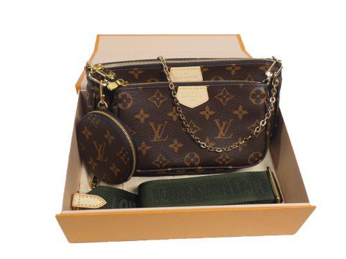 Exclusive Item ! Louis Vuitton M44813 Monogram Multi Pochette Accessories -Khaki Strap-0