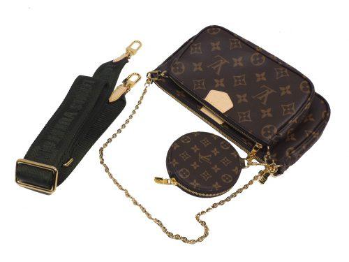 Exclusive Item ! Louis Vuitton M44813 Monogram Multi Pochette Accessories -Khaki Strap-38710