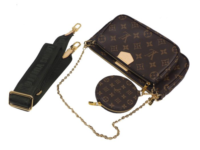 Exclusive Item ! Louis Vuitton M44813 Monogram Multi Pochette Accessories -Khaki Strap-38710