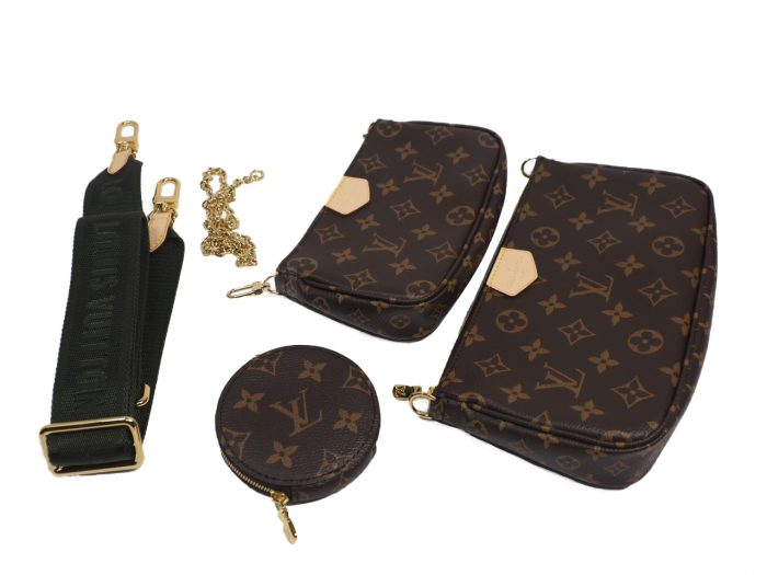 Exclusive Item ! Louis Vuitton M44813 Monogram Multi Pochette Accessories -Khaki Strap-38711