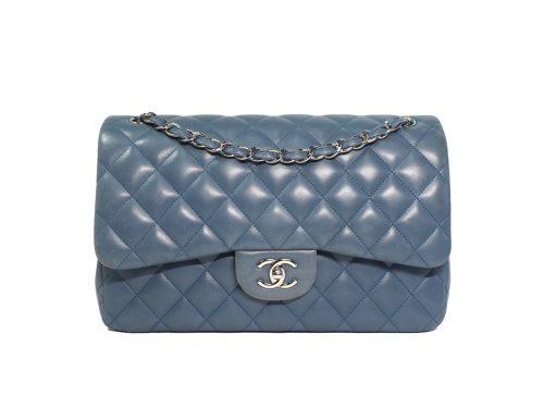 Chanel 16866892 Blue Lambskin Jumbo Large Classic Double Flap Silver Metal Hardware (A58600)-0