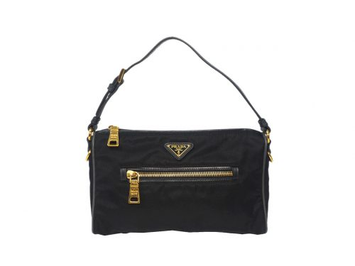Prada BN1834 Black Tessuto + Calf Leather Accessory Pouch-0